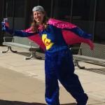 Librarian Karen in her Super Grover costume