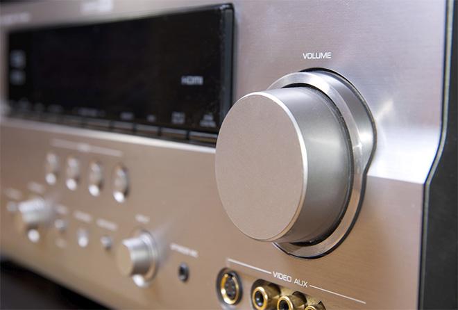 closeup of a stereo receiver