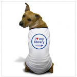 Dog in I Heart My Library dog tee shirt