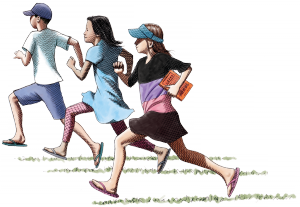 Illustrated children running