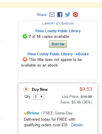 The extension will show above the pricing on Amazon.