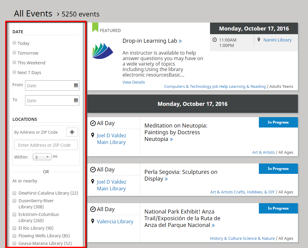 screenshot of library events page with box around the sidebar